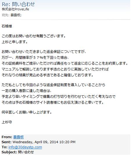 上杉氏のメール