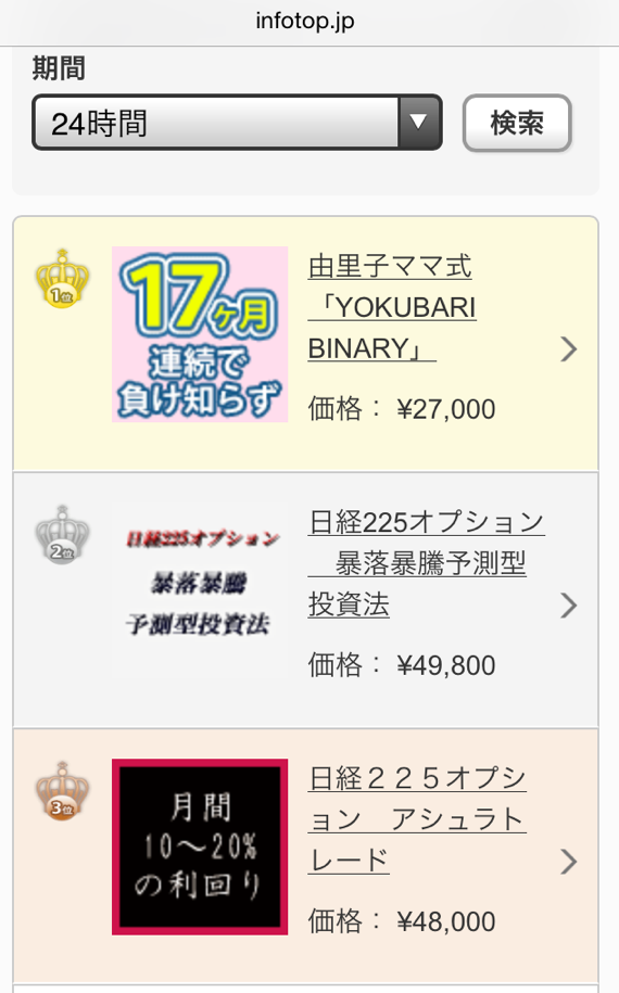 由里子ママ式「YOKUBARI BINARY」ランキング画像